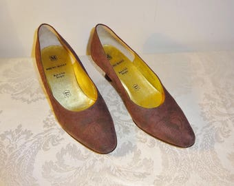 Vintage Bruno Magli Brown Pumps Shoes Size 6 1/2 B Embossed Suede