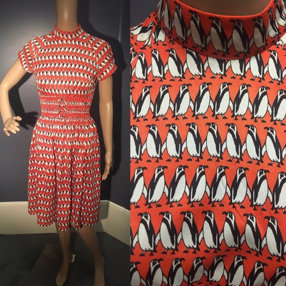 Vintage 1970s Red, Black and White Penguin Dress Small