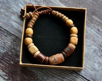 Natural Juniper Bracelet - Guava, juniper and coconut - Rustic Bracelet for Men