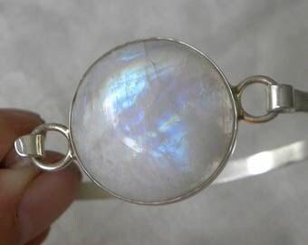 "Moonstone Bangle Handmade Bracelet Blue Moonstone Bracelet Size 7 - 8"" Sterling Silver Bangle Take 20% Off Blue Moonstone Jewelry Gemstone"