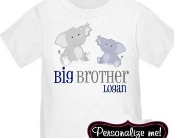 ON SALE Big Brother Elephant Personalized T-Shirt Boys Big Brother Shirt