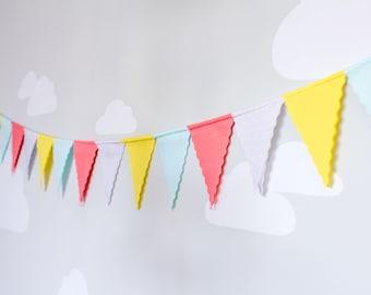 Bunting Flag Banner, Pennant Flag Garland, Fabric Bunting, Nursery Wall Decoration