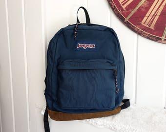 Classic Old School Jansport Navy Blue Bookbag Backpack 1980s 1990s Leather Suede Bottom