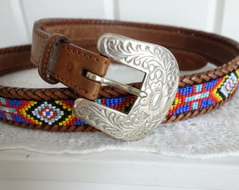 Vintage Western Mexican Navajo Saddle Tan  Beaded Southwestern Mexican Color Block  Leather Belt with Removable Silver Buckle 36, 37 38 39