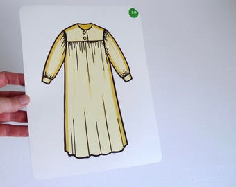 Large Vintage Flash Card of a Yellow Nightgown - 1965 Peabody Language Development
