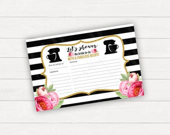 Recipe Card Bridal Shower Recipe Card Printable Recipe Card Wedding Shower Black and Gold Recipe Template recipe Cards Instant Download