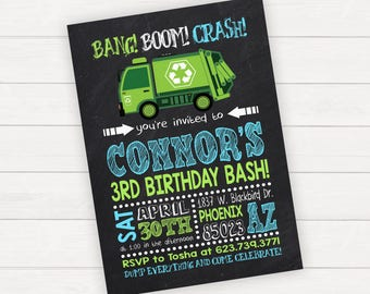 Garbage Truck Birthday Invitation Garbage Truck Invitation Garbage Truck Party Dump Truck Birthday Invitation Dump Truck Trash Truck