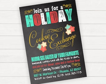 Christmas Party Cookie Exchange Holiday Party Christmas Invitation Holiday Invitation Chalkboard Invitation Printable Invitation