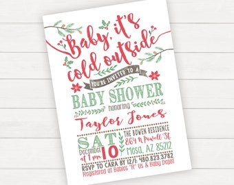 Christmas Baby Shower Invitation Winter Baby Shower Invitation Christmas Baby Shower Invite Baby It's Cold Outside Winter Wonderland