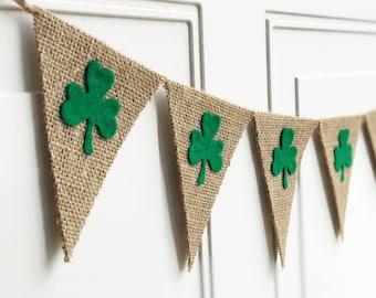 St Patricks Day Decor - Shamrock Banner - St Patricks Day Banner - Shamrock Garland - Irish Decor - Mini Burlap Banner - Shamrock Bunting
