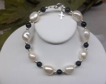 Black Onyx Bracelet White Pearl Bracelet Silver Cross Bracelet Adjustable Bracelet Sterling Silver Bracelet Christian Jewelry BuyAny3+1 Free