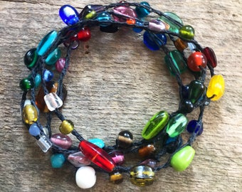 Glassworks:Versatile crocheted necklace / bracelet / belt / headband