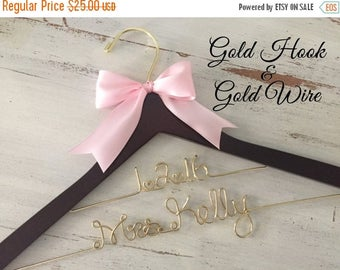 XMAS IN JULY Gold Wire Wedding Hanger, Bridal Hanger, Personalized Bride Hanger, Gold Wedding, Brides Hanger, Mrs Hanger, Name Hanger, Perso