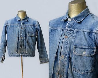 1940s Levis Type 1 Single Pocket Big E Redline Blanket Lined Distressed Indigo Denim Cinch Back Jean Jacket