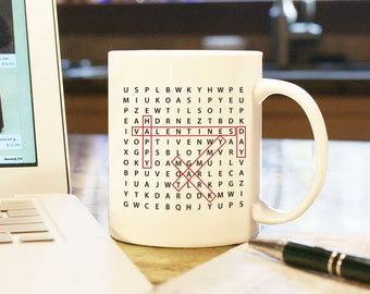 Valentines Day Gift Custom Personalized Word Search Home Decor White Coffee Mug Cup Boyfriend Girlfriend Husband Wife Present 2 Sides