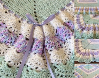 Baby blanket crochet, 2 sizes, lavender and mint green, 4 tier full extensive ruffle, extra soft qality baby yarn,Many colors