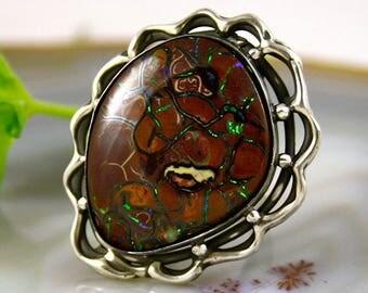Boulder Opal Ring Australian Opal Sterling Silver Jewelry
