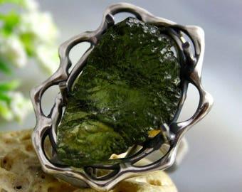 Moldavite Ring Tektite Meteorite Ring Green Stone Ring Sterling Silver Jewelry