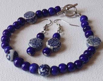 Blue and White Ceramic Oriental Bracelet and Earrings Set