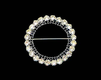 Rhinestone Circle Brooch, Clear Rhinestones & Silver Filigree, Rhinestone Brooch, Lapel Collar Brooch, Bridal Hair Jewelry, Gift for Her