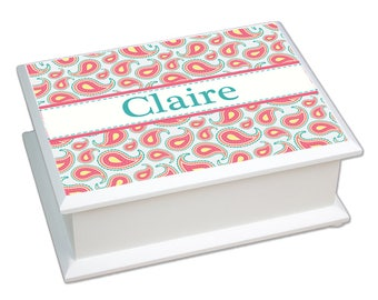 Personalized Paisley Aqua Coral Lift Top Jewelry Box Room Accent Garden jeweb-pat-442