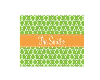 Personalized Rings Green with Gold White Wall Canvas
