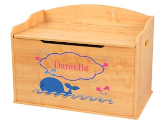 Whale toy box etsy personalized pink whale natural toy box bench wood toybox kidkraft custom toy chest for boys girl negle Images