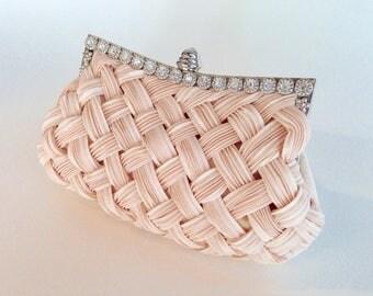 Woven Peach Clutch Purse - Vintage Handbag with Rhinestones - Pastel Vintage Purse