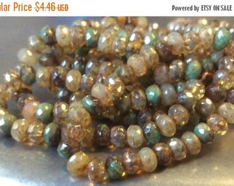 ON SALE Czech Rondelle Bead 3mm x 5mm Champagne Opal Brown and Green Turquoise Picasso Mix 1 Strand
