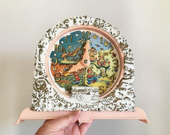 Kitschy Hickory Dickory Dock Toy Clock / Talking Clock with Elves  /  Home School