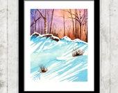 Winter's Light - watercolor art print, watercolor print, unframed print, 8x10 print, 5x7 print, unmatted, art print, winter watercolor print