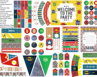 Superhero party printables, superhero party pack, everything you need for your superhero party