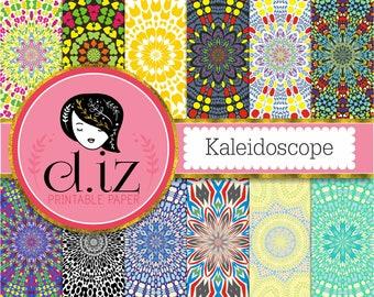 Kaleidoscope digital paper 'Kaleidoscope' mosaic digital paper in 12 colorful patterns