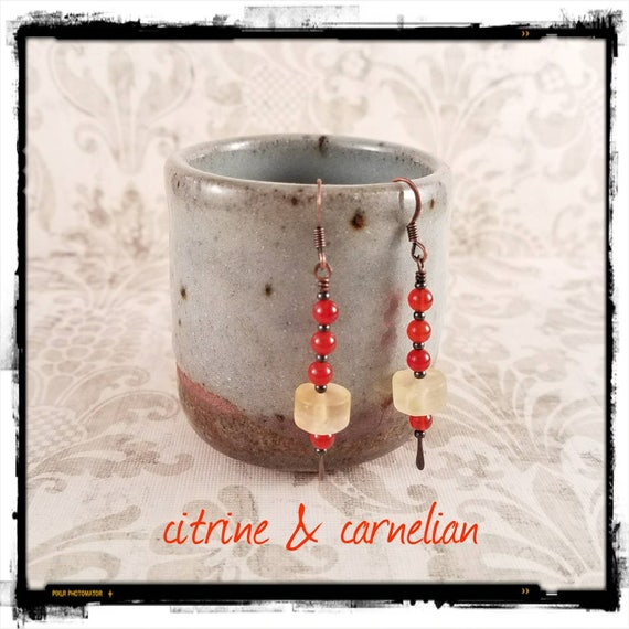 Light Yellow Matte Citrine Heishi Discs and Deep Orange Carnelian Orb Earrings on Antiqued Copper  Earwires