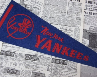 Rare Vintage New York Yankees Baseball Pennant 15 Inch Pennant Banner Flag 1960s Era Collectible Vintage Sports Room Decor Old Baseball