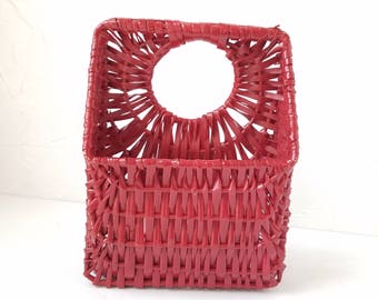 Basket Red Woven Basket Wall Decor Christmas Card Holder