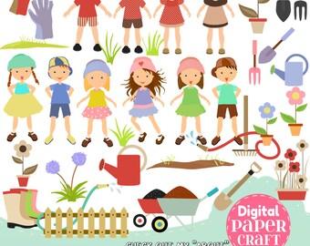 Garden Clipart, Children Clipart, Flower Clipart, Plant clipart, Outdoor clipart, Clipart,  Home clipart, Nature Clipart,