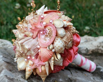 Seashells Bouquet. Coral and Gold Beach Wedding Bouquet. Beach wedding accessories