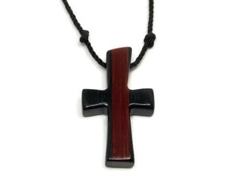 Mens Cross Pendant Necklace, Mens Jewelry Cross, Men's Cross Necklace, Religious Pendant, Wood Cross Pendant, Ebony & Bloodwood Cross