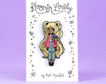 Bloomin' Lovely Hard Enamel Lapel Pin // Peachy Choc Blonde Variant // Wearable Art, Jewelery, Flowers, Chibi, Cute, Kawaii, Girl
