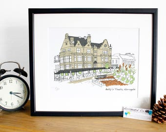 Harrogate Print Betty's treats - Original art illustrative print, 10x12 print, Yorkshire landmark
