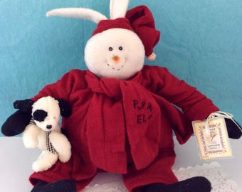 Bunnies By The Bay - hand crafted rabbit - 1997 - original tags - Puppy Elf - Adult Collector - cuddly stuffed rabbit - Rabbit Collector