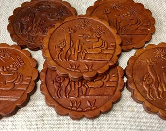 Vintage Set of 6 Thick Leather Coasters in a Holder, Peru