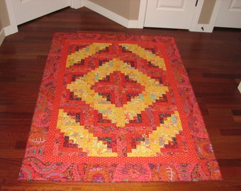Log Cabin Quilt in Red and Yellow Westminster Fibers Fabrics