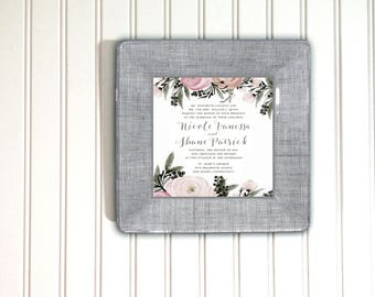 Pink and Gray wedding - invitation plate keepsake - unique wedding gift - wedding gift ideas for bride and groom - unique bridal shower gift
