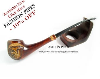 """Lady Wooden Tobacco pipe Inlaid """"Spring Style"""". Long smoking pipe Magic Wood Pipe, Exclusive Handmade. Limited edition"""