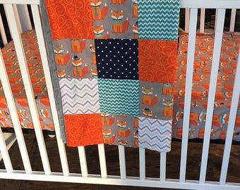 Woodland Crib Bedding Set, Boy Nursery Bedding, Fox Crib Bedding, Bumperless Crib Bedding, Navy Blue, Orange, Gray Nursery, Turquoise