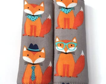 Nerdy Baby Fox Car Seat Strap Cover, Seat Belt Cover, Woodland Boy Nursery, Baby Fox Nursery, Woodland Baby Shower, Baby Carrier
