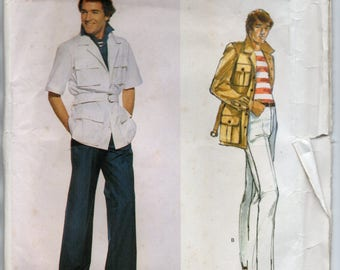 Unlined Jacket With Collar Back Yoke Back Pleat Straight Legged Pants Menswear Men's Size 38 Sewing Pattern Yves Saint Laurent Vogue 1645