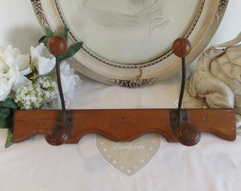 Antique, vintage French rack of coat hooks.  Country cottage chic